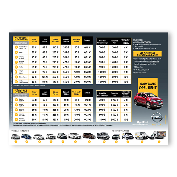 Opel Rent - Tarifs